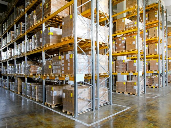 Shelves and racks in distribution storehouse interior